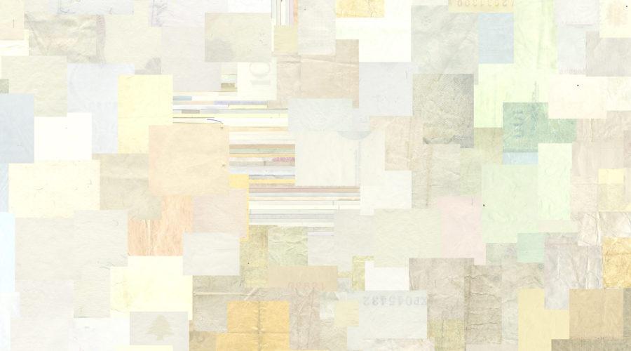 Collage aus weißen Bereichen Hunderter Banknoten