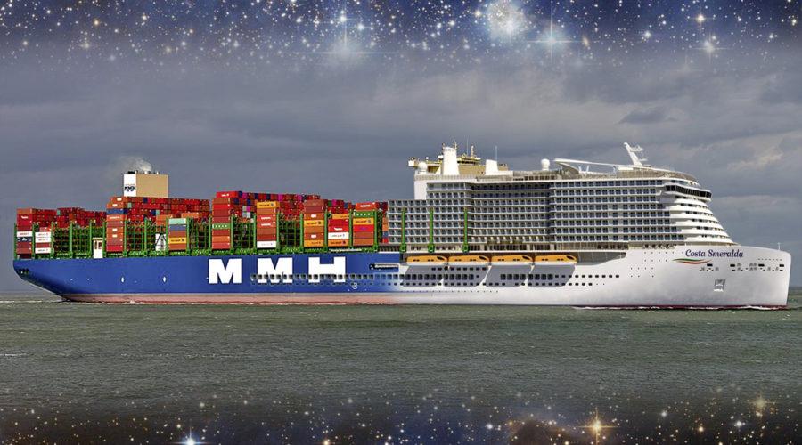 Kreuzfahrt- und Containerschiff-Hybrid im Universum